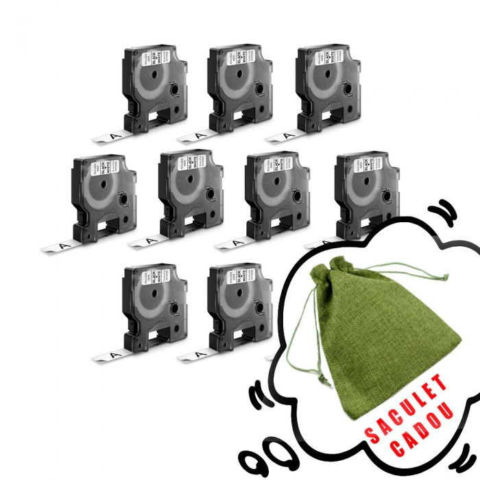 Etichete autocolante, DYMO LabelManager D1, 12mm x 7m, negru/alb, 10 buc/set, DY45013 S0720530 2093097-big