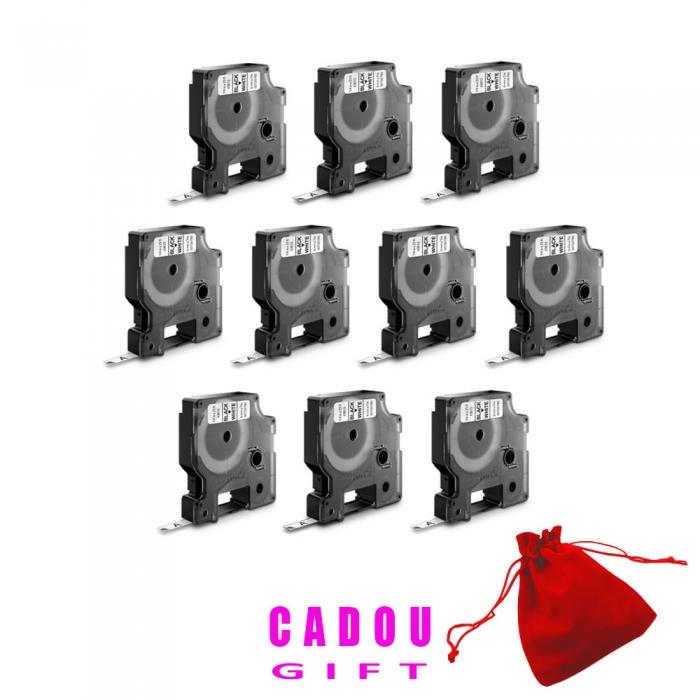 Etichete autocolante, DYMO LabelManager D1, 9mm x 7m, negru/alb, 10 buc/set, 40913, 2093096 DY40913P10-big