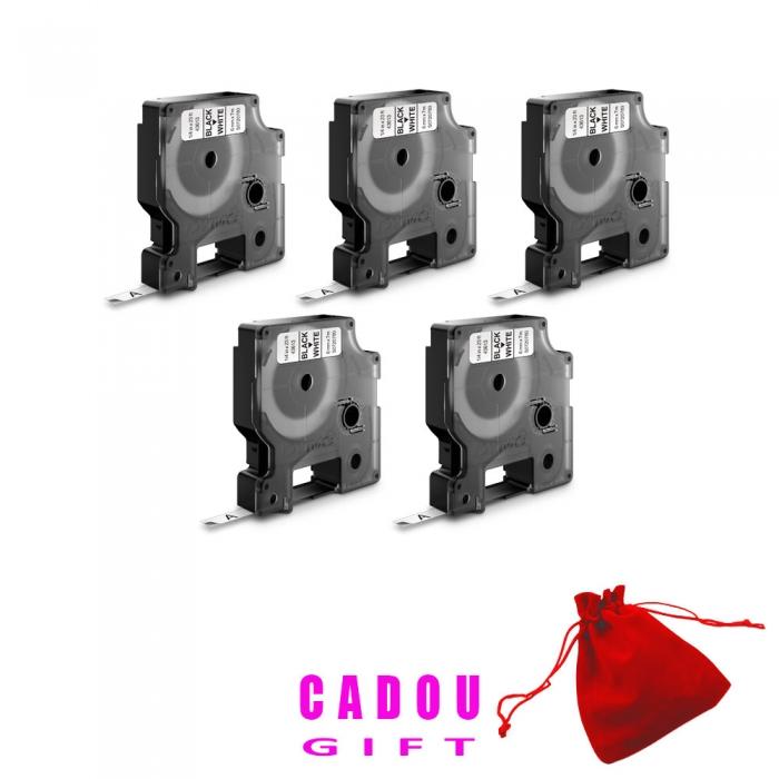 Etichete autocolante, DYMO LabelManager D1, 9mm x 7m, negru/alb, 5 buc/set, 40913, 2093096-big