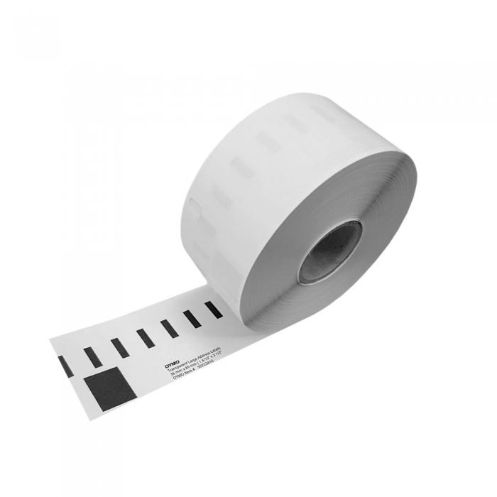 Etichete termice, DYMO LabelWriter, adrese mari, permanente, 89mmx36mm, plastic transparent, 1 rola/cutie, 260 etichete/rola, S0722410 99012 S0722400-big