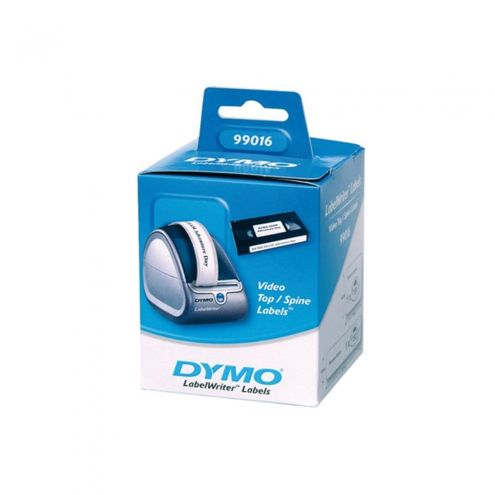 Etichete termice, DYMO LabelWriter, casete video, permanente, hartie alba, 2 role/cutie, 150 etichete/rola, 99016 S0722450-big