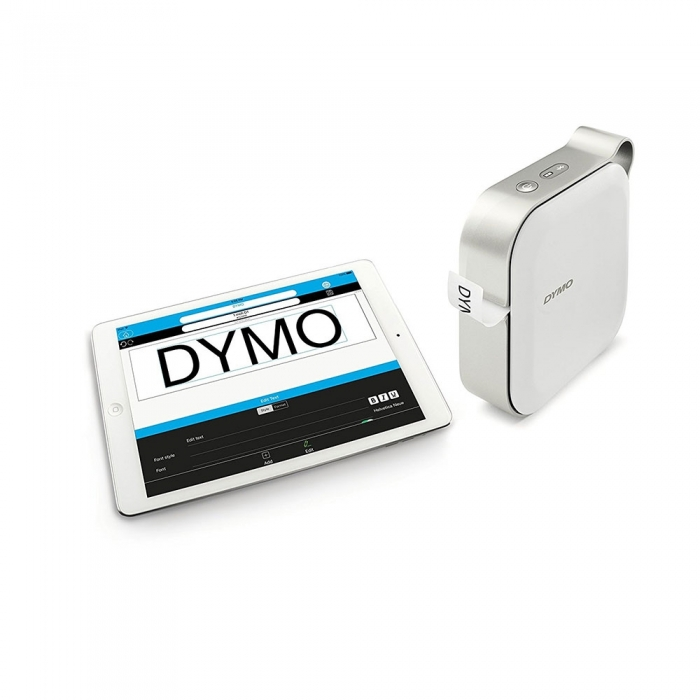 Imprimanta Etichete Bluetooth Dymo MobileLabeler si o caseta etichete profesionale D1 12 mm x 3m, negru/argintiu, 1978246, DY 2084401-big