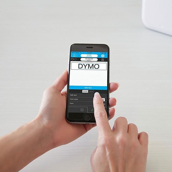 Imprimanta Etichete Bluetooth Dymo MobileLabeler si o caseta etichete profesionale D1 12 mm x 3m, negru/auriu, 1978246, DY 2084349-big
