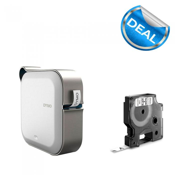 Imprimanta Etichete Bluetooth Dymo MobileLabeler si o caseta etichete profesionale D1 9 mm x 7m, negru/alb, 1978246, 53713, 40913-big