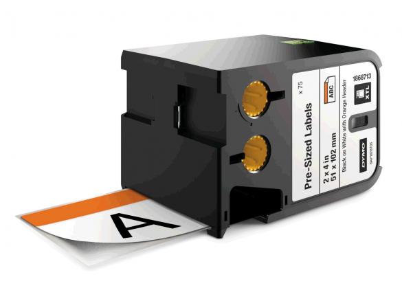 Dymo XTL etich. semnalizare vinil 51mm x 102mm, Negru/alb, header orange, 70 etich./banda-big