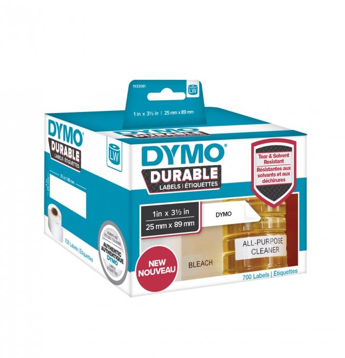 Etichete DYMO Durable LabelWriter din plastic alb (dimensiuni 25 mm x 89 mm) 700buc/rola-big