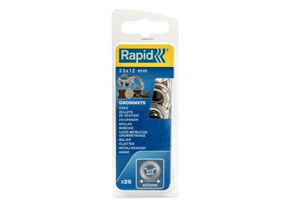 Saibe Rapid pentru ocheti diametru 12 x 23mm, aluminiu, sitem fixare inclus, 25 buc/ blister-big