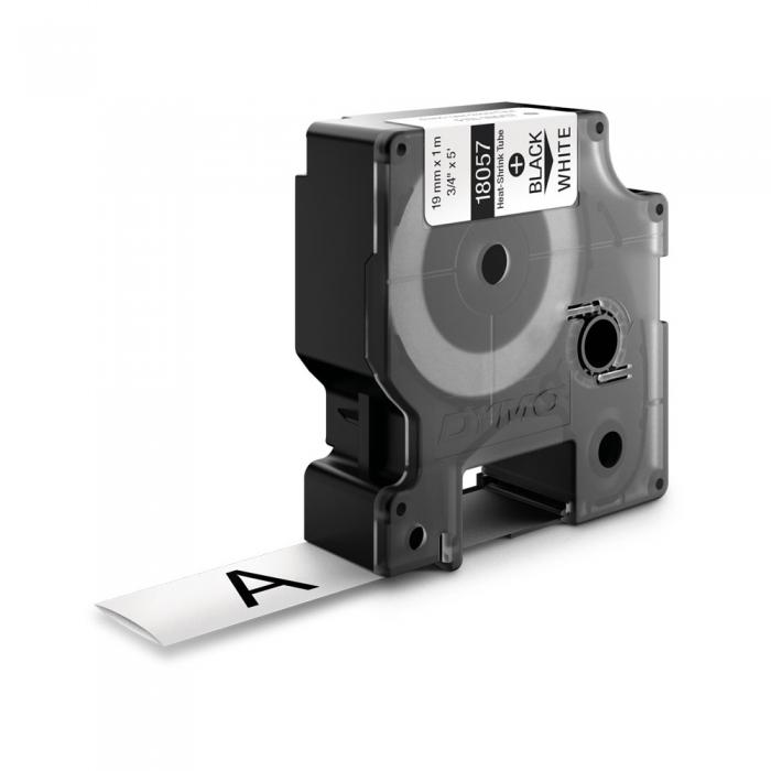 Etichete tub termocontractibil, DYMO ID1, 19mm x 1.5m, negru/alb, 18057-big
