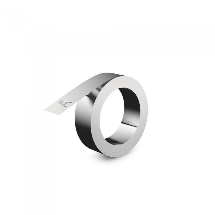 Etichete compatibile metalice embosabile industriale DYMO, 12mmx6,4m, otel inoxidabil DYA32500-big