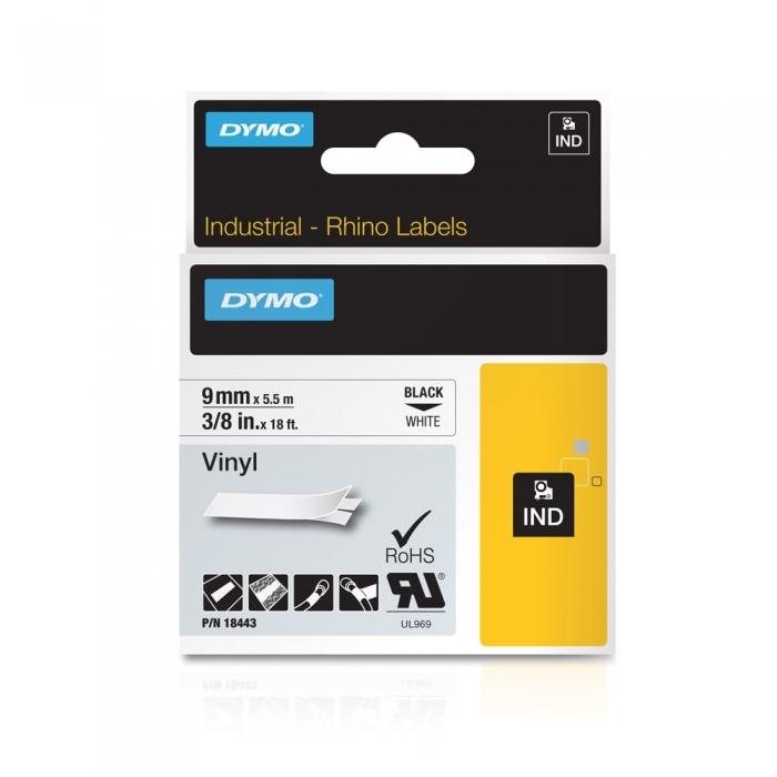 Banda Originala Dymo ID1 9mm x 5.5m Vinil Negru/Alb, 18443, S0718580-big