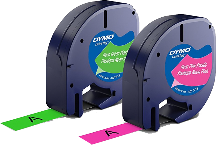 Dymo LetraTag 100h Labeling Machine, 2 Neon Colors and a Paper Tape, 12mm x 4m-big