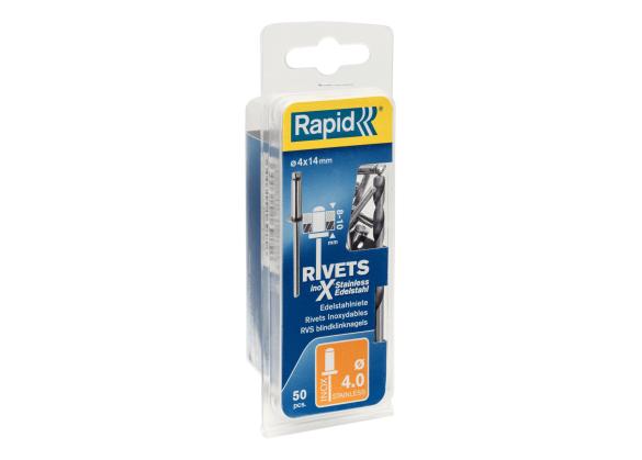 Popnituri Rapid Otel inoxidabil - diametrul de 4 mm x 14 mm, burghiu inclus, 50 buc/ blister-big