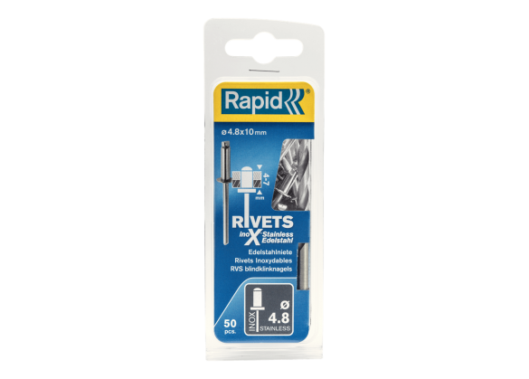 Popnituri Rapid Otel inoxidabil - diametrul de 4.8 mm x 10 mm, burghiu inclus, 50 buc/ blister-big