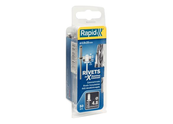 Popnituri Rapid Otel inoxidabil  - diametrul de 4.8 x 25 mm, burghiu inclus, 50 buc/ blister-big