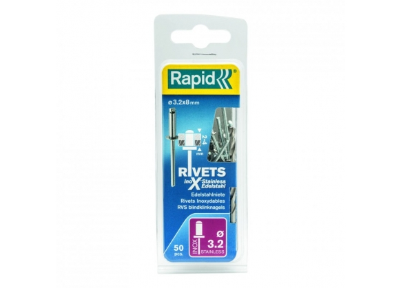 Popnituri Rapid Otel inoxidabil  - diametrul de 3.2 mm x 8 mm, burghiu inclus, 50 buc/ blister-big