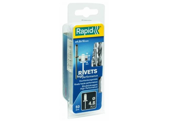 Popnituri Rapid High Performance - diametrul de 4.8 mm x 16 mm, aluminiu, burghiu inclus, 50 buc/ blister-big