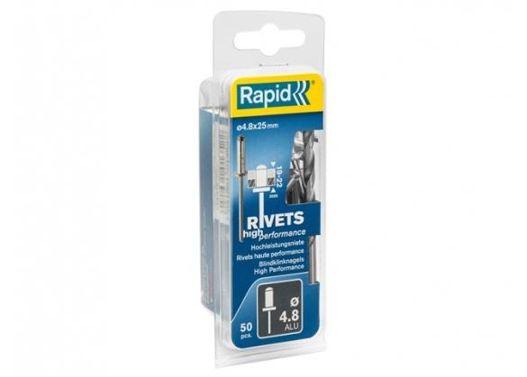 Popnituri Rapid High Performance - diametrul de 4.8 mm x 25 mm, aluminiu, burghiu inclus, 50 buc/ blister-big