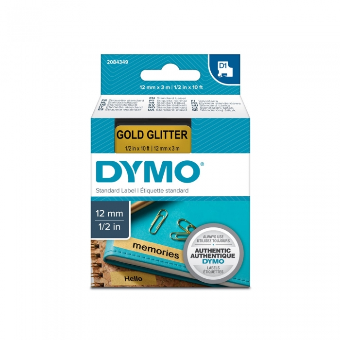 Aparat de etichetat profesional DYMO LabelManager 160P si o caseta etichete profesionale, 12mmx3m, negru/auriu, DY 2084349-big