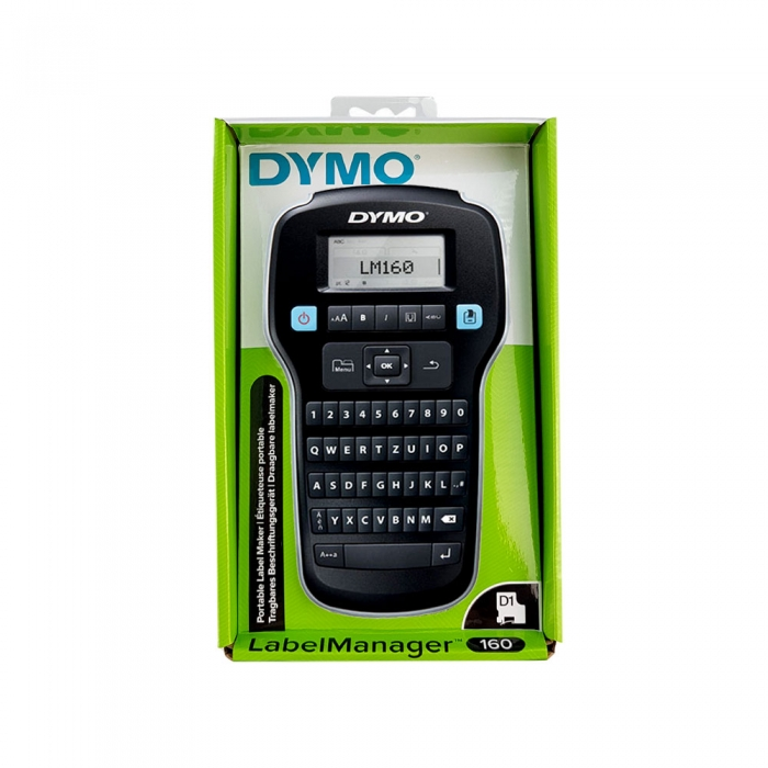 Aparat de etichetat profesional DYMO LabelManager 160P si o caseta etichete profesionale, 12mmx3m, negru/argintiu, DY 2084401-big