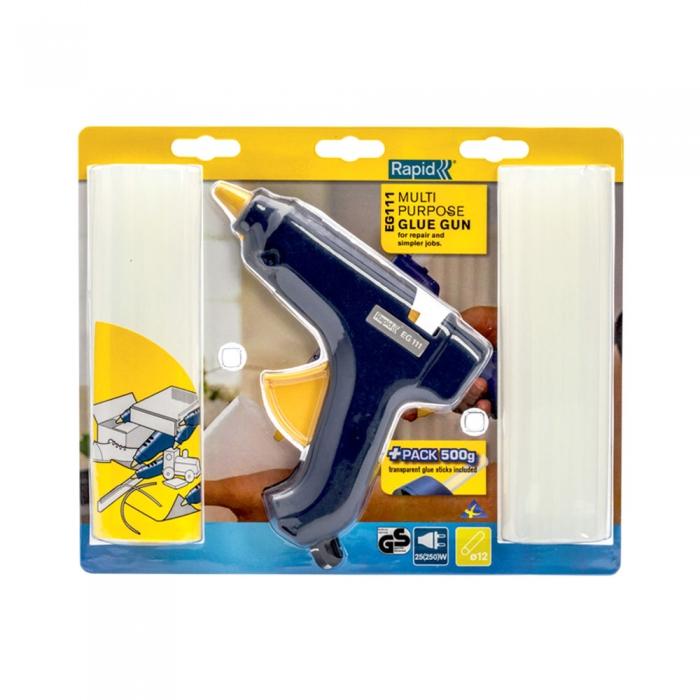Pistol de lipit Rapid EG111, 250W, 200g/h, cu diametrul de 12mm, 500g batoane de lipit universale incluse-big