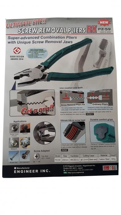 Cleste patent combinat ENGINEER PZ-59,extragere suruburi rupte,200mm,taie Ø3 2mm,300g,verde,fabricat Japonia-big