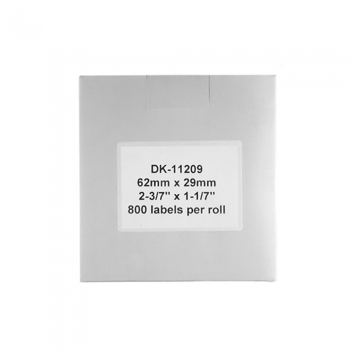 Etichete termice autocolante transport, compatibile, Brother DK-11209, hartie alba, permanente, 29mmx62mm, 800 etichete/rola, suport din plastic inclus DK11209-C-big
