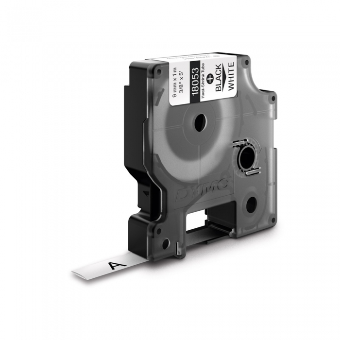 Industrial DYMO, Heat shrink tube labels, 9mm x 1.5m, black on white, 18053-big