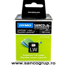 Etichete 50 mm x 12 mm, hartie alba, dosare suspendate, DYMO LabelWriter, cod DY 99017