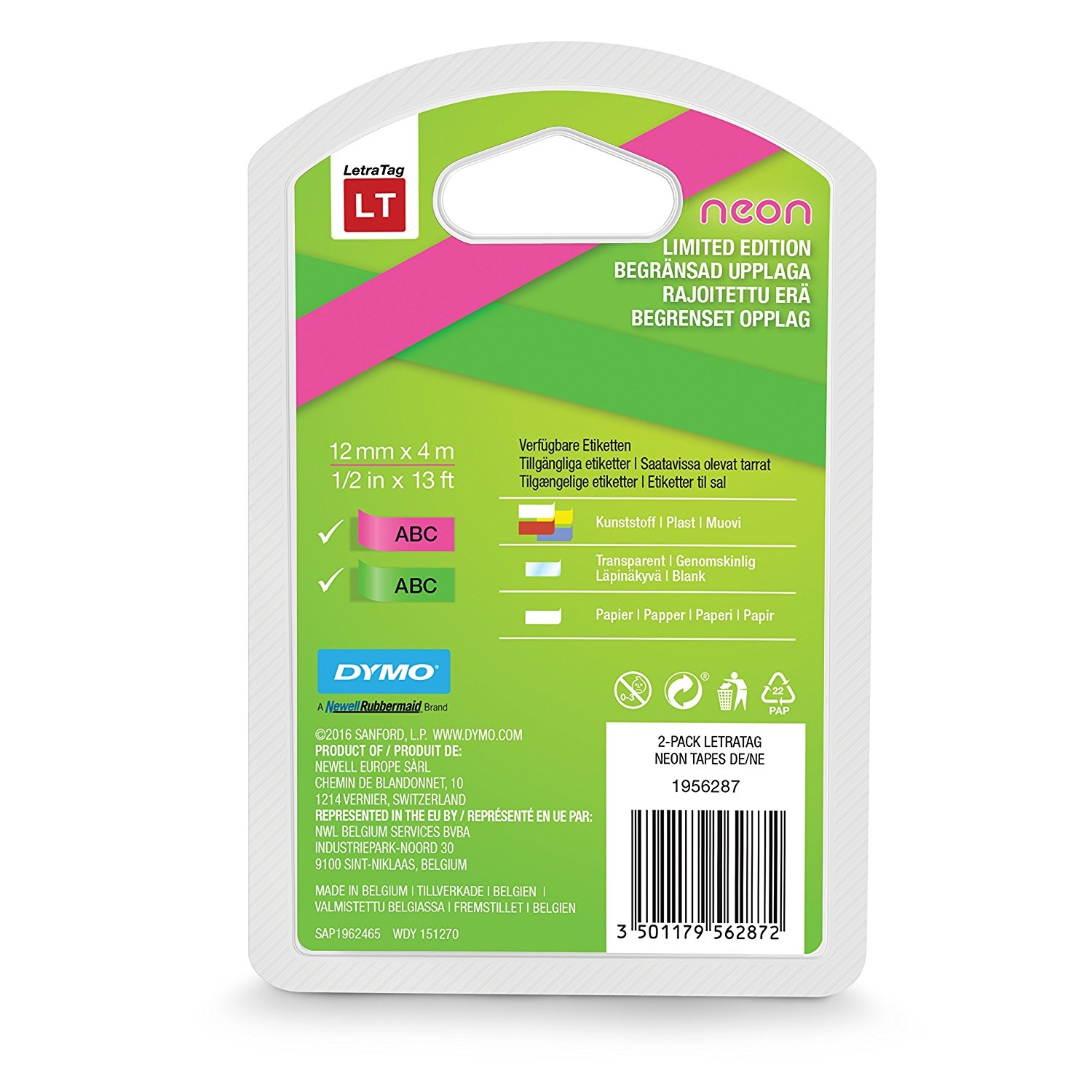 DYMO LetraTag Labelling Tape, 12mmx4m, multipack assorted, Neon, 1956290
